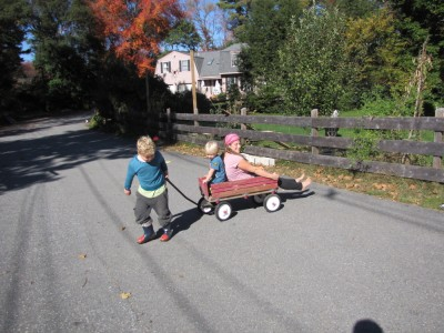 Harvey pulling Mama and Zion in the wagon