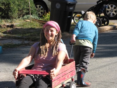 Mama smiling in the wagon