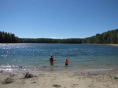the boys looking at the choppy surface of Walden pond