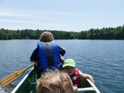 in the canoe on Walden Pond