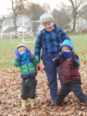the boys posing in their winter gear at Park Day
