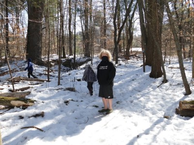 the boys walking in the snowy woods... Harvey wearing shorts