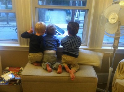 Lijah, Henry, and Liam looking out the window together