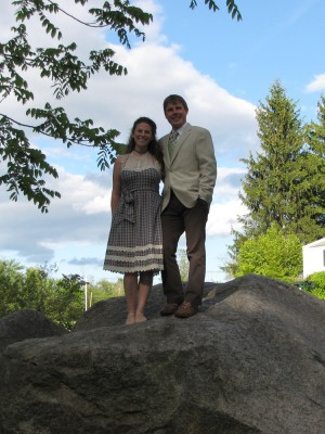 Leah and Dan looking sharp upon a rock