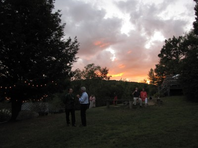 the sunset over the wedding reception