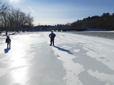 Harvey and Lijah on the frozen Concord River