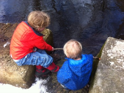 Harvey and Zion poking sticks into the creek