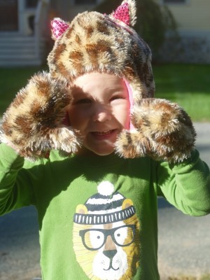 Lijah in his leopard hat and mittens