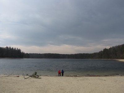 Harvey and Zion by Walden Pond under a stormy sky