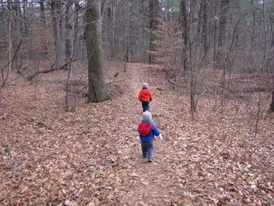 Harvey and Zion walking on a leaf-covered woodsy path