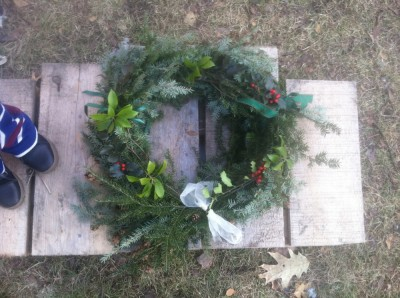 our second wreath, with Lijah's feet for scale