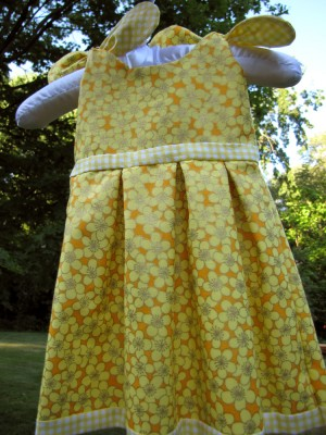 yellow baby dress, front view