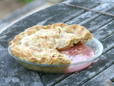 a rhubarb pie on the table