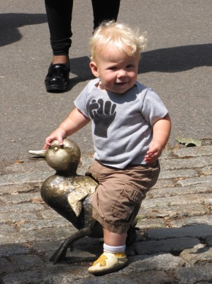 Zion riding a duckling