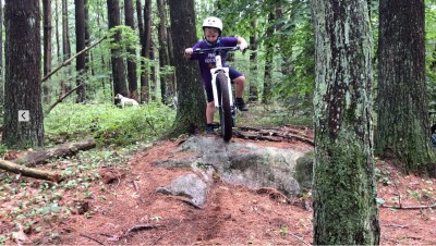 Zion riding a borrowed mountain bike