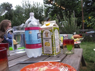 food and drinks on the table outside
